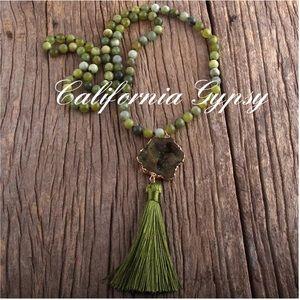 Green Agate Druzy Tassel Necklace